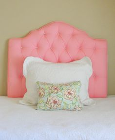 Twin tufted upholstered headboard pink with crystal buttons
