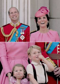 The Cambridges with the cutest little smiles as they watch the flypast (ノ◕ヮ◕)ノ*:・゚✧ + BONUS IMAGE - Princess Diana was there in spirit, matching her granddaughter and daughter-in-law, Charlotte &...