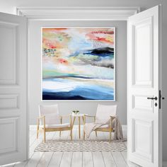 Colorful abstract art, large original acrylic wall art, original canvas painting, large abstract modern art 40 x 40 canvas by VictoriAtelier by VictoriAtelier on Etsy