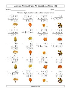 The Autumn Missing Digits All Operations Mixed (Harder Version) (A) Math Worksheet from the Seasonal Math Worksheets Page at Math-Drills.com. Addition And Subtraction Worksheets, Math Worksheets, Math Drills, Group Work, Learning Centers, Teaching Tools, Autumn, Math Skills, Falling Down