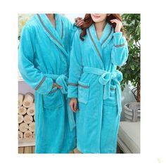 Peignoir bleu d'hiver pour couple