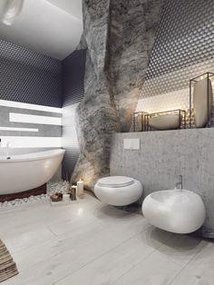 Interior de un impresionante baño lujoso en fotos