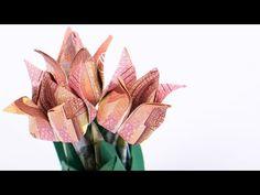 Geld falten hi Blumen: Tulpen Blumentopf aus Geldscheinen basteln - YouTube