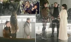 Leaked photos from the upcoming Star Wars flick about Han Solo show the titular character with Chewbacca, as well as the new addition played by Woody Harrelson.