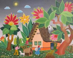 Coming Home 40cm x 50cm Oil on canvas | Naive Art Online