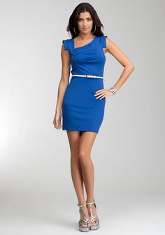 Bebe Eloise Asymmetric Neckline Dress - True Blue - Xxs