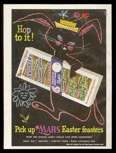 1955 Easter Bunny CUTE art Mars Milky Way Snickers candy bar vintage print ad