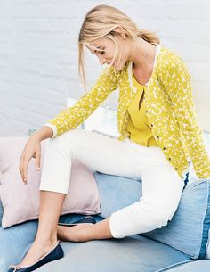 We've taken the everyday crew-neck cardigan and added a little something special, with a gloriously sunshine-ready print. Throw it on over sundresses when you fancy a pop of colour, or use it to dress up your favourite jeans. In a cotton-silk blend, it's dreamily soft too.