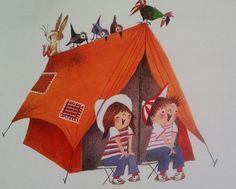 Camp Sing-a-Long pieces) Children's Book Illustration, Graphic Design Illustration, Retro Caravan, Art Drawings For Kids, Held, Go Camping, Schmidt, Childrens Books, Inktober