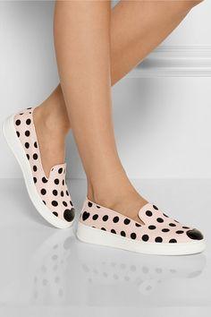 Leather-appliquéd polka-dot canvas slip-on sneakers by Katie Grand Loves Hogan