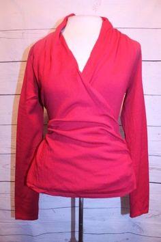 Ann Taylor LOFT Top S Red Rayon Blend V Neck Classic Career Wrap Sweater Blouse #AnnTaylorLOFT #VNeck #Career