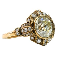 Stunning old European-cut diamond ring with a 2.95ct. center stone and 18K yellow gold setting, circa 1920's, USA.  www.diamonds.pro