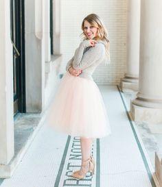 tulle skirt, Sunday church outfit, modest skirt, midi skirt, feminine fashion, Space 46 tulle