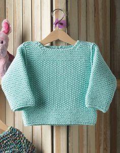 Met dit gratis breipatroon kun je een babytruitje breien met de rijstekorrelsteek. Dit is een erg leuke trui met een moooie, fijne structuur.