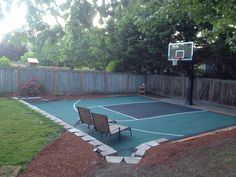 Basketball court DIY in my backyard dream come true:) coming together little at a time
