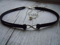 Infinity Choker Necklace Black Faux Suede - Eternity  - Eternal Love - Friendship - Infinity Jewelry