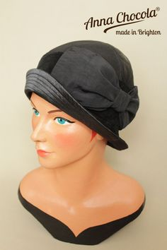 1920s 30s FLAPPER Art Deco CLOCHE HAT Black repro S/M Anna Chocola Brighton