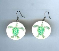 Sea Turtle Earrings by design mosaic. Made from polymer clay with surgical steel ear wires. #handmade #jewelry #earrings