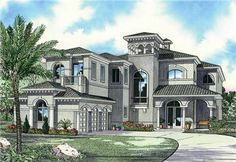 Luxury House Plans AA5872-0266 are great two story mediterranean style home plan with 5 bedrooms, 6 baths, and a 3 car garage. This house plan has 5872 total living square feet.