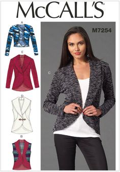 McCalls Ladies Easy Sewing Pattern 7254 Cardigans in 6 Styles Easy Sewing Patterns, Mccalls Sewing Patterns, Clothing Patterns, Sewing Ideas, Sewing Tips, Sewing Tutorials, Dress Patterns, Sewing Projects For Beginners, Diy Projects
