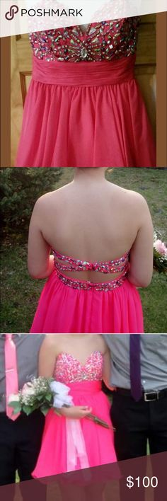 Pink semi formal short homecoming/prom dress Size 6 pink short prom/homecoming dress. Only worn once great condition. hannah s Dresses Prom