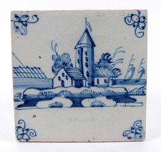 Fine Antique 18thC Dutch Holland Blue White Delft Ware Tile   eBay