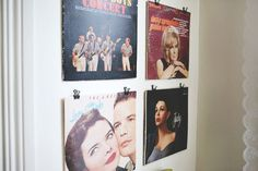 Great way to display old record albums on the wall: hang from binder clips   Everyday Elsie