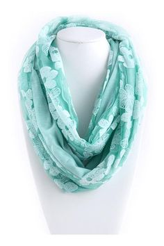 Lace Daffodil Infinity Scarf in Teal Mint