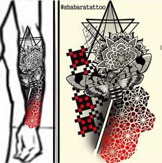 Forearm - Mandala, hexagonal pattern with Death's-head hawkmoth and sacred geometry, pixel pattern