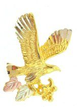 Diamond-cut 10K Yellow-gold Black Hills Gold EagleTie-tac/Lapel pin