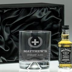 Engraved Dimple Base Tumbler and Whisky Set - First Aid