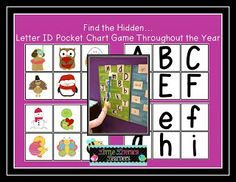 """""""Find the Hidden."""" / Letter & Sound Identification Pocket Chart Game (from Little Literacy Learners) Literacy Stations, Literacy Centers, Kindergarten Literacy, Name Activities, Alphabet Activities, Special Education, Art Education, Environmental Print, Letter Identification"""