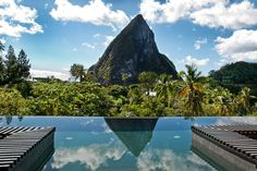 Boucan by Hotel Chocolat - St. Lucia, Caribbean Islands Perched above the historic cocoa plantation of Robot Estate, Boucan by Hotel Chocolat in Saint Lucia is a fascinating eco-conscious boutique. Hotel Swimming Pool, Amazing Swimming Pools, Best Swimming, Hotel Pool, Swimming Pool Designs, Awesome Pools, Infinity Pools, Santa Lucia, Beautiful Hotels
