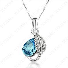 18K White Gold P Swarovski Crystal Emulational Blue Diamond Pendant Necklace N167W2