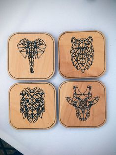 Animal Coasters Set- Set of 4 - Laser Cut Maple Wood - Geometric Animal