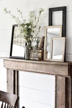 Plywood Furniture, Log Furniture, Furniture Ideas, Furniture Design, Rustic Decor, Farmhouse Decor, Farmhouse Style, Rustic Mantel, Antique Farmhouse