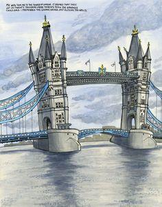 Urban Sketchers: Tower Bridge Is Not Falling Down London Illustration, Travel Illustration, Watercolor Illustration, Moleskine, Vincent Van Gogh, Watercolor Landscape, Watercolor Art, Empire, England