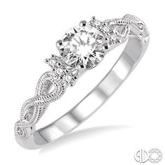 1/3 Ctw Diamond Engagement Ring with 1/3 Ct Round Cut Center Stone in 14K White Gold