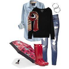 Rainy day outfit with Thirty-One Swiss Dot Bloom umbrella Rainy Day Outfit For Spring, Outfit Of The Day, Casual Outfits, Cute Outfits, Rain Outfits, Thirty One Organization, Thirty One Business, Thirty One Gifts, 31 Gifts
