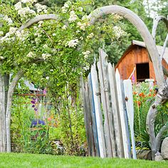 Homemade Home Decorations from Salvage Before: Boat paddles, After: Garden gate. Draped with rambling roses, this shapely structure keeps deer from grazing in Gail and Mark Dupar's kitchen garden in W