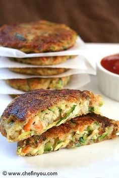 Zucchini, Potato, Carrot Patties | Zucchini Recipes. I would probably use sweet potato instead of white and add some spices.