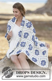 """Amanecer - Crochet DROPS blanket with flower squares in """"Cotton Merino"""". - Free pattern by DROPS Design"""
