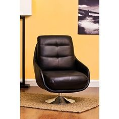 Shop For Abe Black Bonded Leather Contemporary Accent Chair. Get Free  Shipping At Overstock.