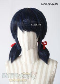 [Kasou Wig] Miraculous Ladybug Marinette pre-styled pigtails cosplay wig . black blue color . SP32