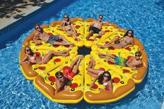 You've seen the slice of pizza pool float that consists of 1 slice of pizza. But who in their right-mind wouldn't want the rest of the pizza? This pizza pool float gives you a total of 8 pizza slice p. Giant Pool Floats, Cool Pool Floats, Inflatable Float, Giant Inflatable, Inflatable Island, Pizza Pool Float, Pool Floats For Adults, Pool Rafts, Water Floaties