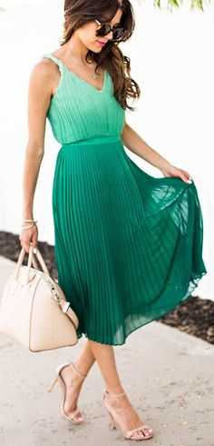 Ombre emerald pleated dress