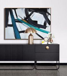 CZ Art Design-Hand painted Oversized Horizontal Minimal Painting, canvas art.
