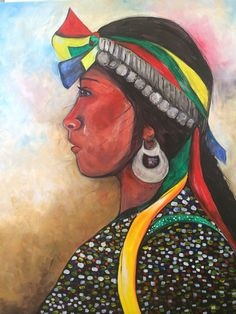 """""""Mujer mapuche"""" Arte Popular, Mother Earth, Ballet, Painting, Flower, Portraits, Paintings, Portrait Art, Painting Art"""