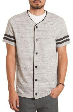 Elwood The Varsity Stripe Baseball Jersey in Heather Grey