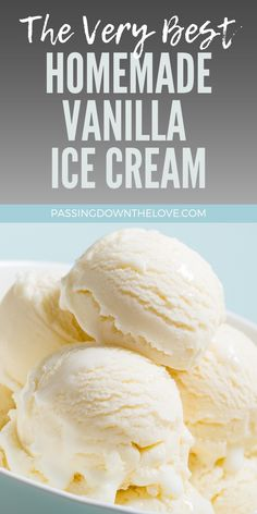 "My Favorite Homemade Vanilla Ice Cream. Delicious sweet treat, sure to please the crowd! A summer ""must"" to accompany your barbecue! Best Homemade Ice Cream, Easy Ice Cream Recipe, Ice Cream Recipes, Homemade Vanilla Icecream, Homemade Icecream Recipes, Ice Cream Machine Recipes, Easy Icecream, Sweet Cream Ice Cream, Sweets"